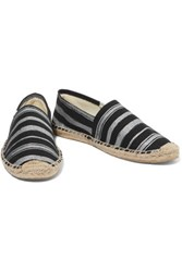 Soludos Metallic Striped Canvas Espadrilles Black