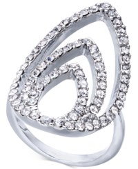 Inc International Concepts Silver Tone Crystal Triple Teardrop Ring Created For Macy's
