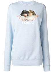 Fiorucci Angels Print Sweater Blue