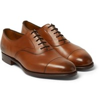 Edward Green Chelsea Burnished Leather Oxford Shoes Tan