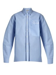 Martine Rose Oversized Striped Bonded Cotton Shirt Blue