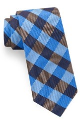 Ted Baker Men's London Derby Check Silk Tie Blue Brown