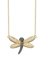 Lord And Taylor 14K Yellow Gold Light Blue White Sapphire Dragonfly Necklace Sapphire Gold
