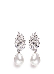 Kenneth Jay Lane Glass Crystal Cluster Pearl Drop Earrings White