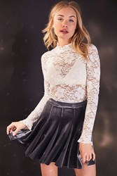 Kimchi And Blue Casa Bella Lace Mock Neck Top White