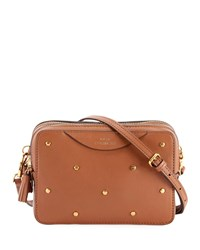 Anya Hindmarch Studded Leather Double Zip Wallet On Strap Tan
