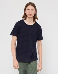 Nudie Jeans Co Ove Double Stripe T Shirt Navy