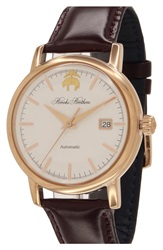 Brooks Brothers 'Core' Automatic Leather Strap Watch 42Mm Brown White Rose Gold