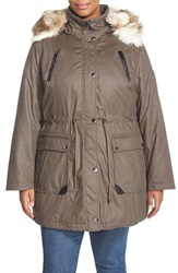 Laundry By Shelli Segal Faux Fur Trim Parka Plus Size Smokestone