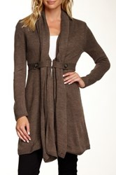 Chaudry Open Front Cardigan Brown