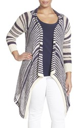 Plus Size Women's Lucky Brand 'Ballerina' Stripe Side Drape Cardigan