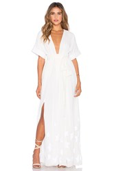 Mara Hoffman Embroidered Slit Maxi Dress White