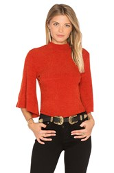 Minkpink Rib Flare Sleeve Reversible Top Rust