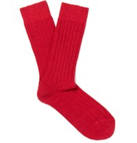 Anderson And Sheppard Ribbed Knit Wool Blend Socks Red