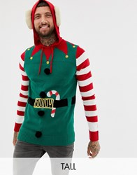 Brave Soul Tall Christmas Hooded Elf Jumper With Bells Green