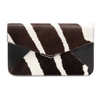 Fendi Fur Envelope Clutch Ebony White Brown
