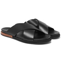 Ermenegildo Zegna Taormina Leather Sandals Black