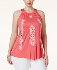 Inc International Concepts Plus Size Embroidered Halter Top Only At Macy's Polished Coral