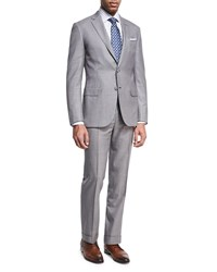 Brioni Houndstooth Super 160S Wool Two Piece Suit Black White