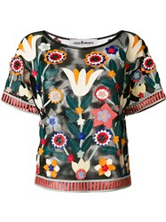 Caban Romantic Embroidered Short Sleeve Top Multicolour