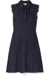 Michael Michael Kors Pussy Bow Corded Lace Dress Storm Blue