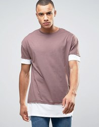 New Look Longline Layered T Shirt In Lilac Light Purple