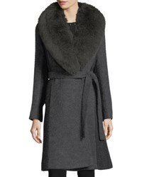 Fleurette Wrap Front Shawl Collar Textured Knit Wrap Coat Anthracite