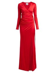 Galvan Allegra Ruched Side Jersey Gown Red