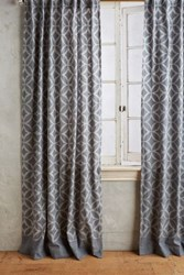 Anthropologie Concave Diamonds Curtain Grey