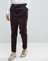 Asos Drop Crotch Tapered Smart Trousers With Heavy Turn Up In Burgundy Burgundy