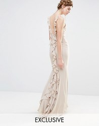 Jarlo Wedding Maxi Dress With Fishtail And Ruffles At Back Silver Grey