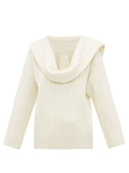 Jacquemus Draped Sleeve Virgin Wool Blend Sweater Ivory