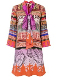 Etro Pussy Bow Dress Pink Purple
