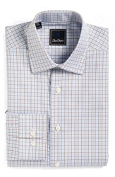 David Donahue Men's Big And Tall Regular Fit Check Dress Shirt Sky Cocoa