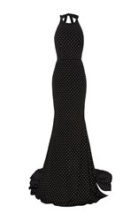 Alex Perry The Lucia Crystal Bow Open Back Gown Black