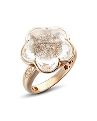 Pasquale Bruni 18K Rose Gold Bon Ton Champagne Diamond And Rock Crystal Floral Ring White Rose Gold