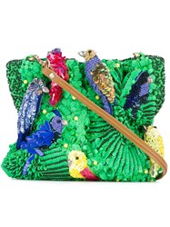 Jamin Puech Sequined Shoulder Bag Women Silk Leather Viscose One Size Green