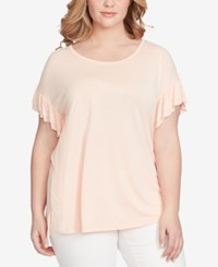 Jessica Simpson Trendy Plus Size Olympia T Shirt Coral Cloud