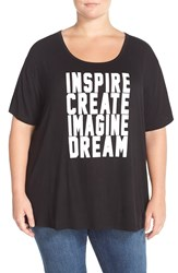 Cj By Cookie Johnson Screenprint Scoop Neck Tee Plus Size Black