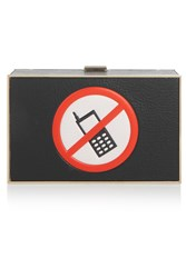 Anya Hindmarch No Mobile Imperial Textured Leather Clutch Black