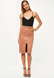 Missguided Brown Faux Suede Tab Detail Zip Front Midi Skirt Beige