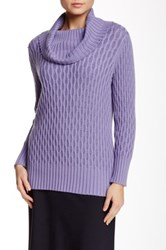 Lafayette 148 New York Long Sleeve Cowl Neck Wave Cable Sweater Purple