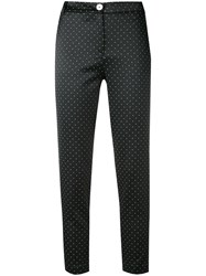 Twin Set Spotted Cropped Trousers Women Cotton Polyester Spandex Elastane 44 Black