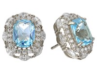 Nina Dries Earrings Palladium Light Blue Topaz White Cz Earring Silver