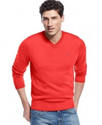 Tommy Hilfiger Big And Tall Men's Signature Solid V Neck Sweater Salmon