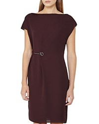 Reiss Baye Draped Hardware Dress Garnet
