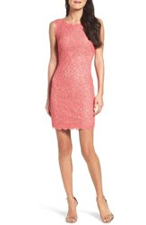 Adrianna Papell Women's Boatneck Lace Sheath Dress French Coral Nude