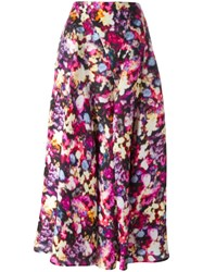 Nina Ricci Blurred Floral Print Skirt Purple