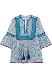 Talitha Embroidered Printed Cotton And Silk Blend Blouse Blue