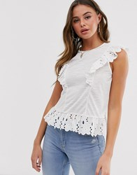 Miss Selfridge Frilled Broderie Top In White